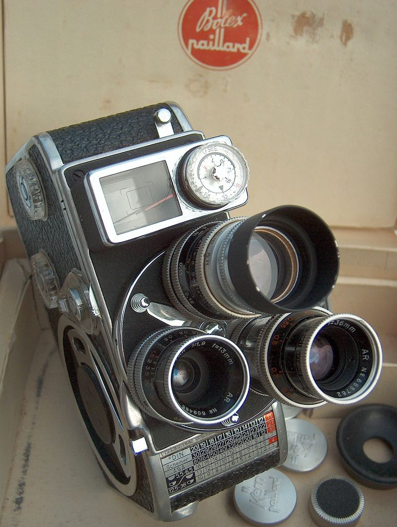 Paillard Bolex Switzerland, D8L (1958), double 8mm film movie camera with  36mm, 13mm and 5,5mm Kern Paillard lenses turret.