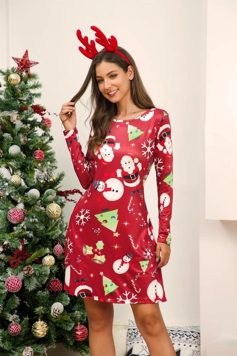 Item Type Print Dress, Midi Dress Skirt Type Aline