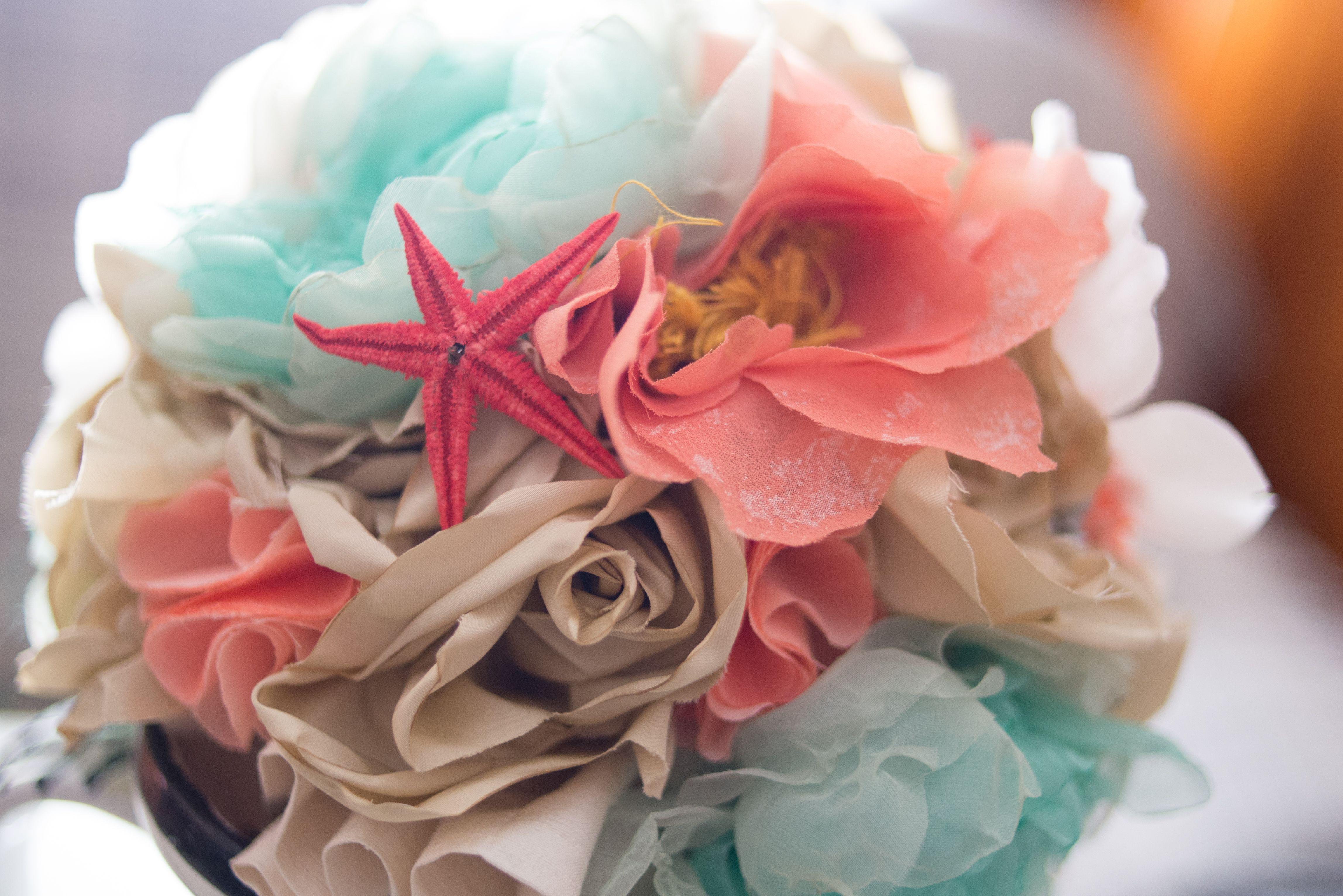 Ramo de novia colores del mar. Ramo de novia turquesa, coral, azul ...