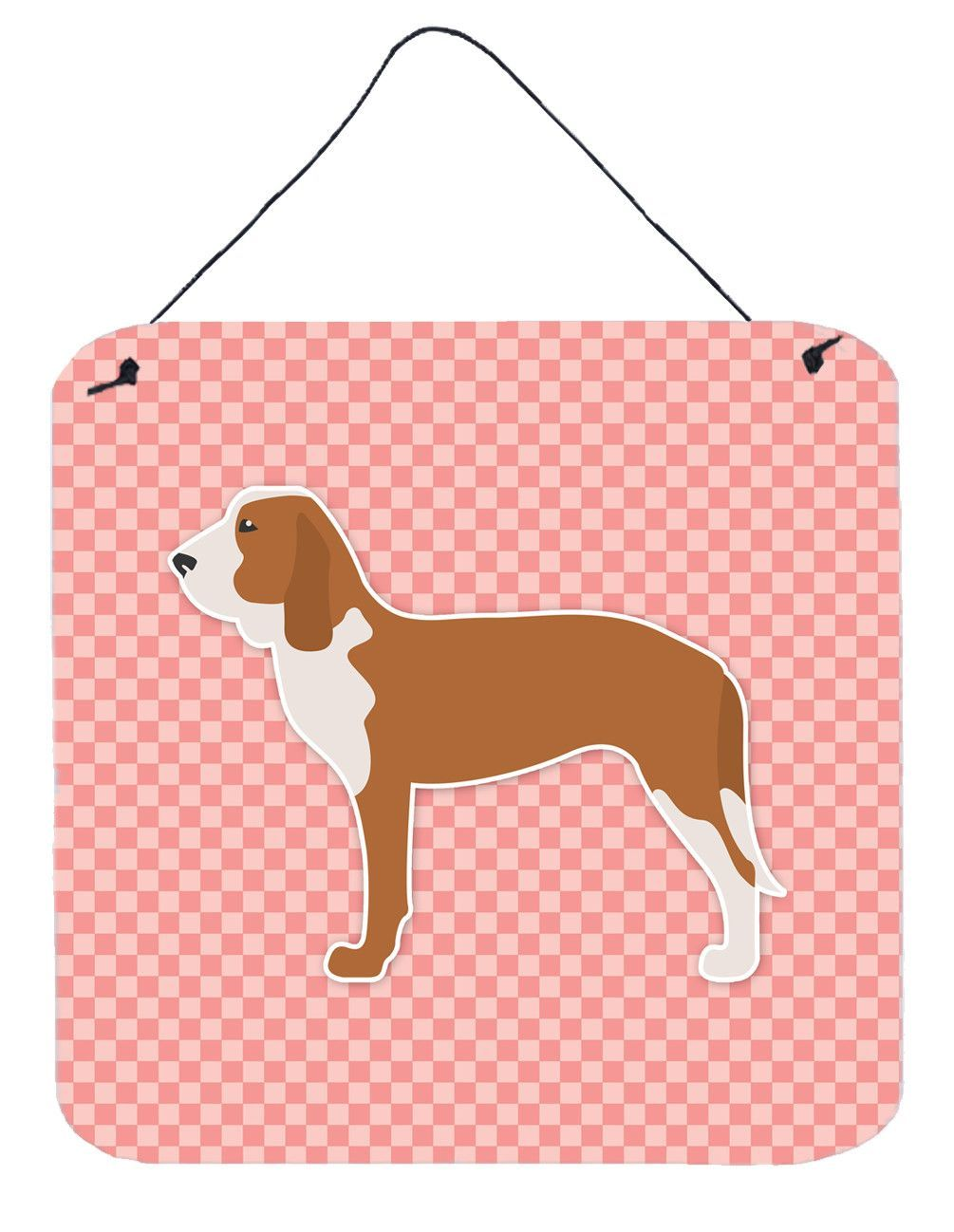 Spanish Hound Checkerboard Pink Wall or Door Hanging Prints BB3591DS66