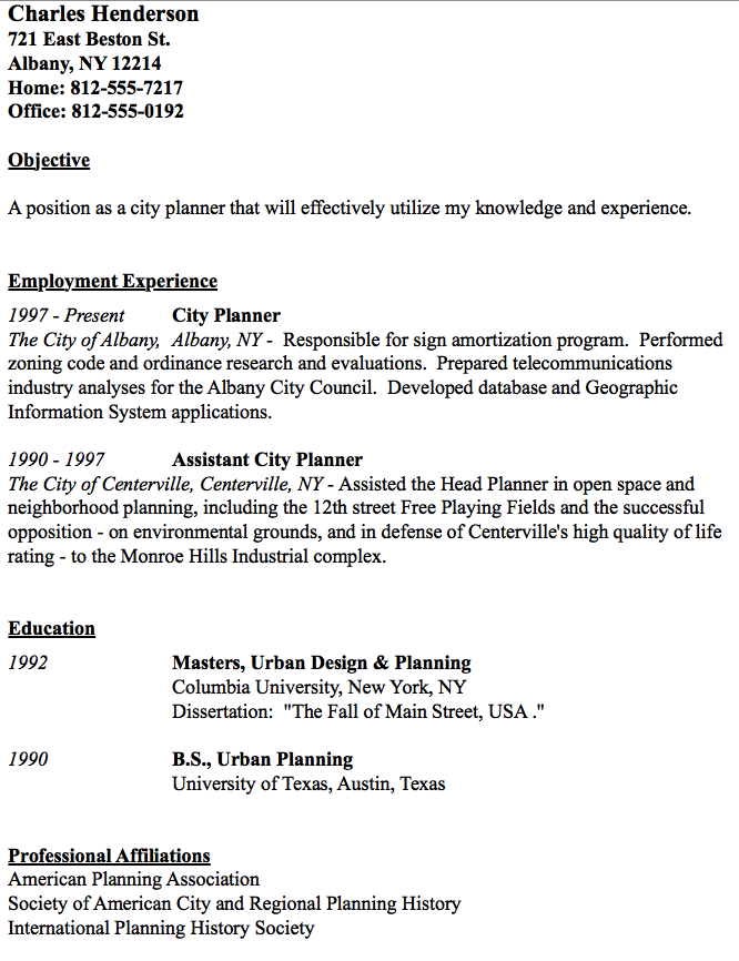 city planner resume sample    resumesdesign com  city