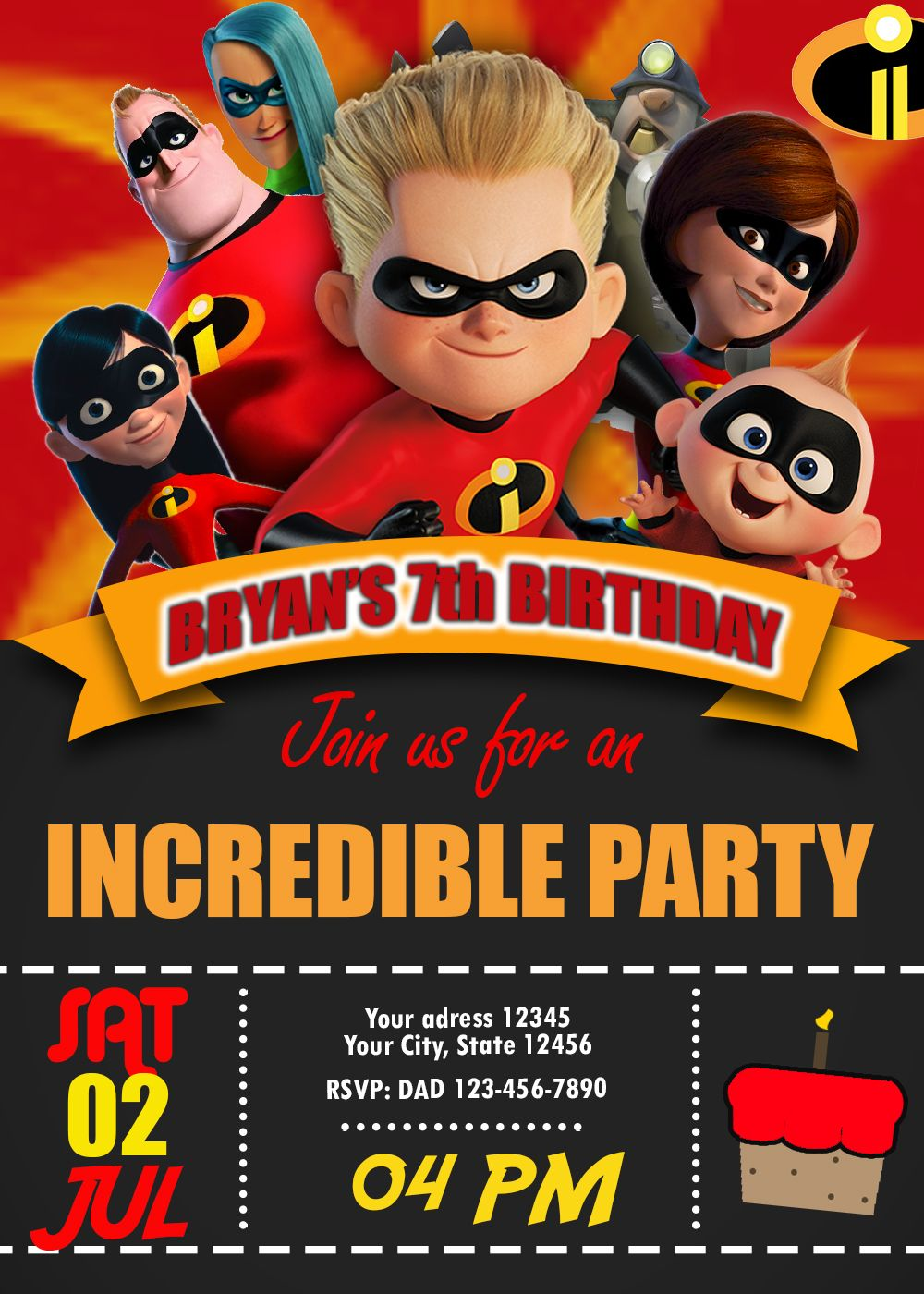 It is a graphic of Handy The Incredibles Free