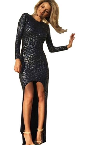 Anything You Want Black Geometric Sequin Long Sleeve Scoop Neck Cut Out  Back Asymmetric Mini Maxi Dress - Sold Out