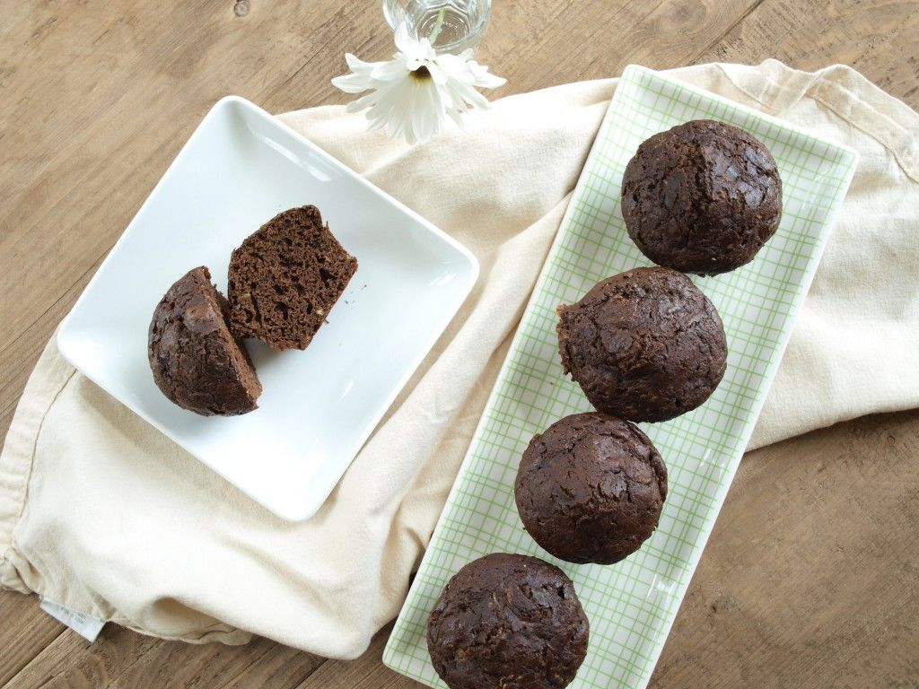 Whole wheat chocolate zucchini muffins.  Chocolate and vegetables for breakfast--yes!