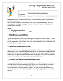 Hypothesis Worksheet - DOC | Scientific method, Middle ...