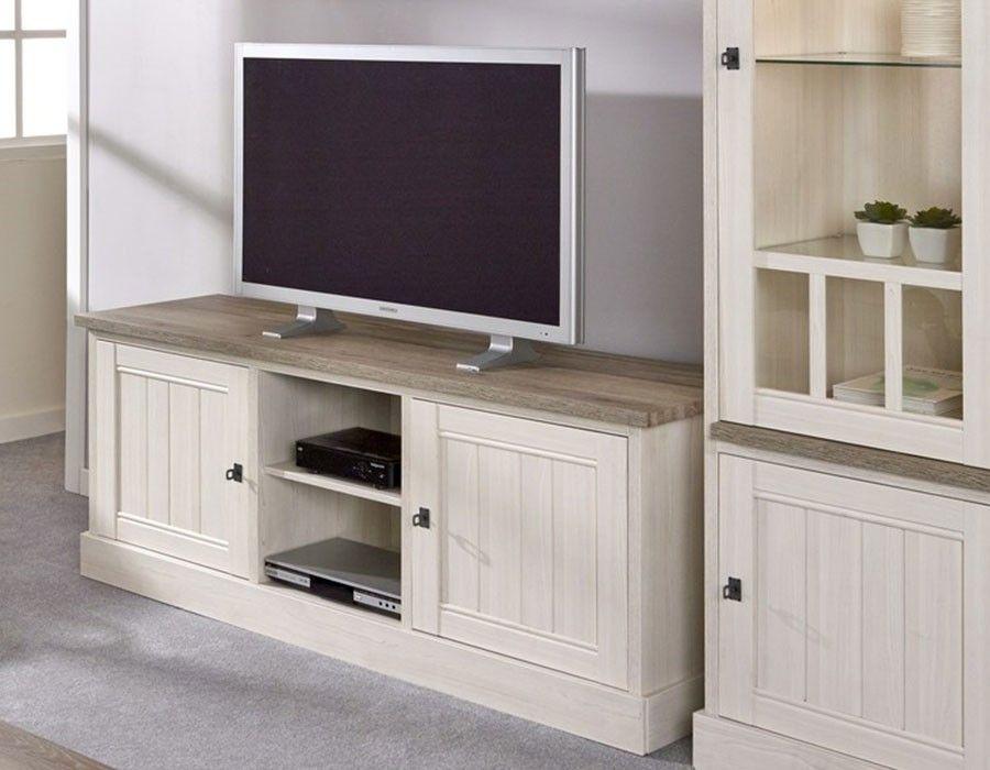 Meuble TV contemporain couleur chêne blanc et marron JEANNE 2 ...