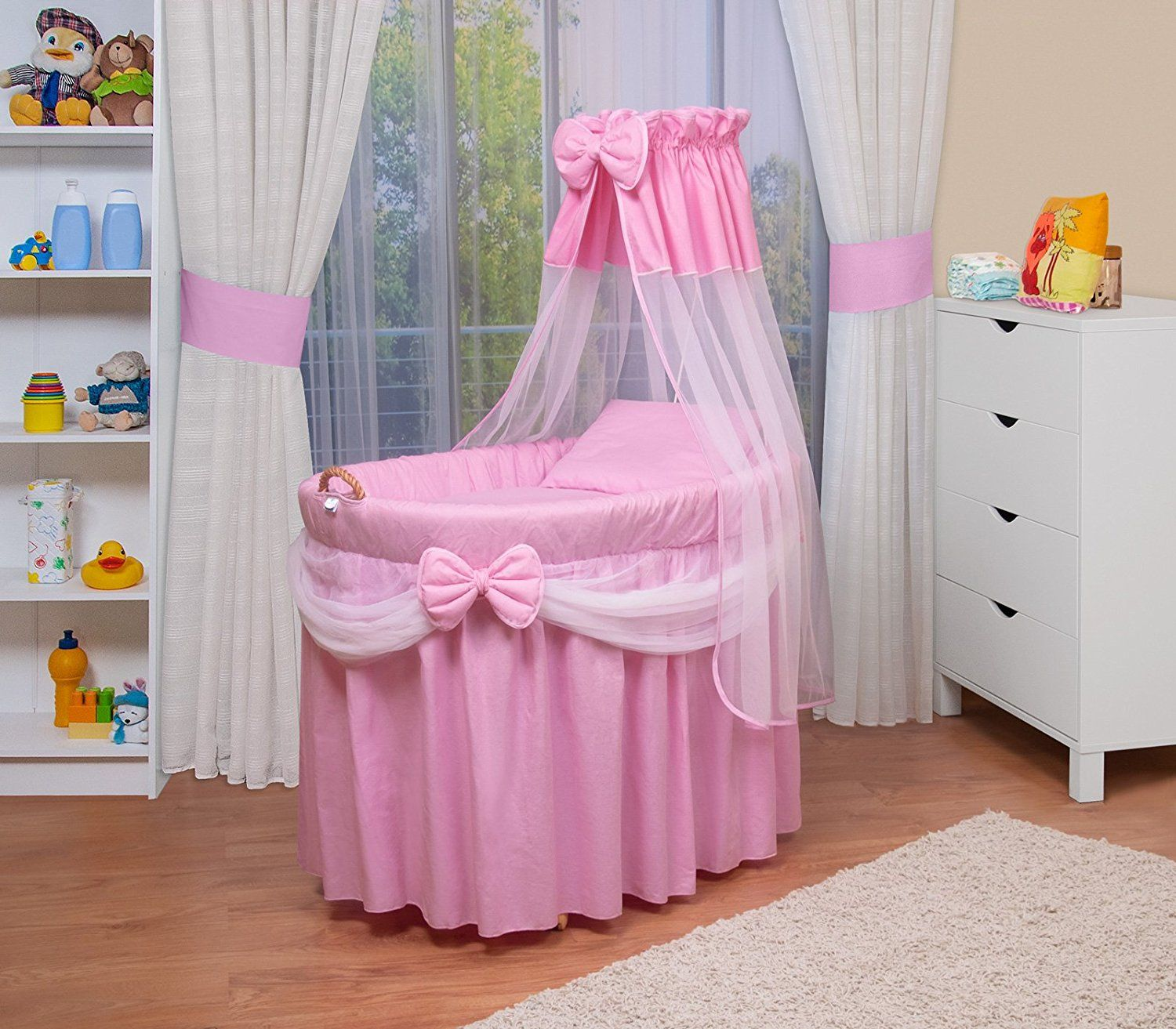 waldin baby stubenwagen set mit ausstattung xxl bollerwagen komplett 4 modelle w hlbar rosa. Black Bedroom Furniture Sets. Home Design Ideas