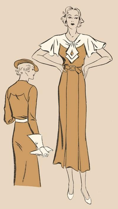 1930s - Sears Roebuck Co, Superior 1220 - Dress has front and back yokes cut-in-one with the sleeves. Jabot is inserted through front seam opening. Four-piece skirt has inverted pleats at the front hem