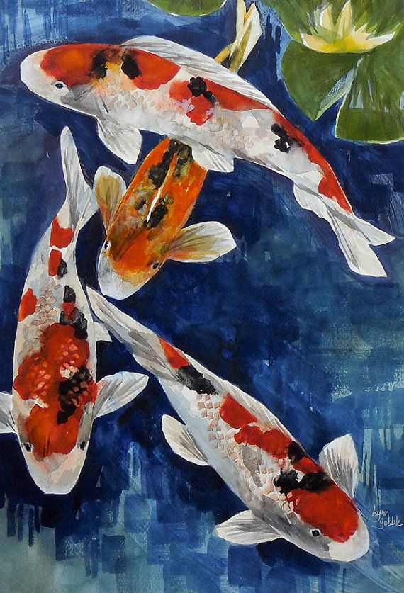 Original watercolor painting koi art koi fish koi pond for Koi fish japanese art