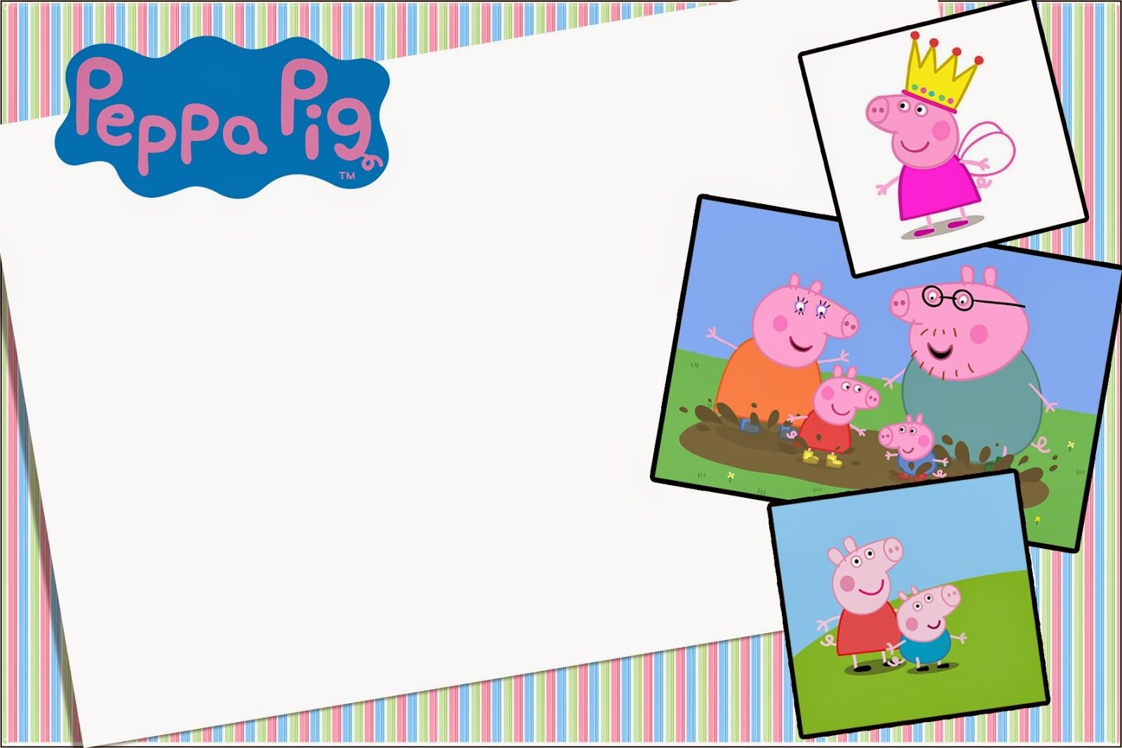 For Invitations, Cards, Backgrounds or Labels.   Peppa Pig Birthday ...