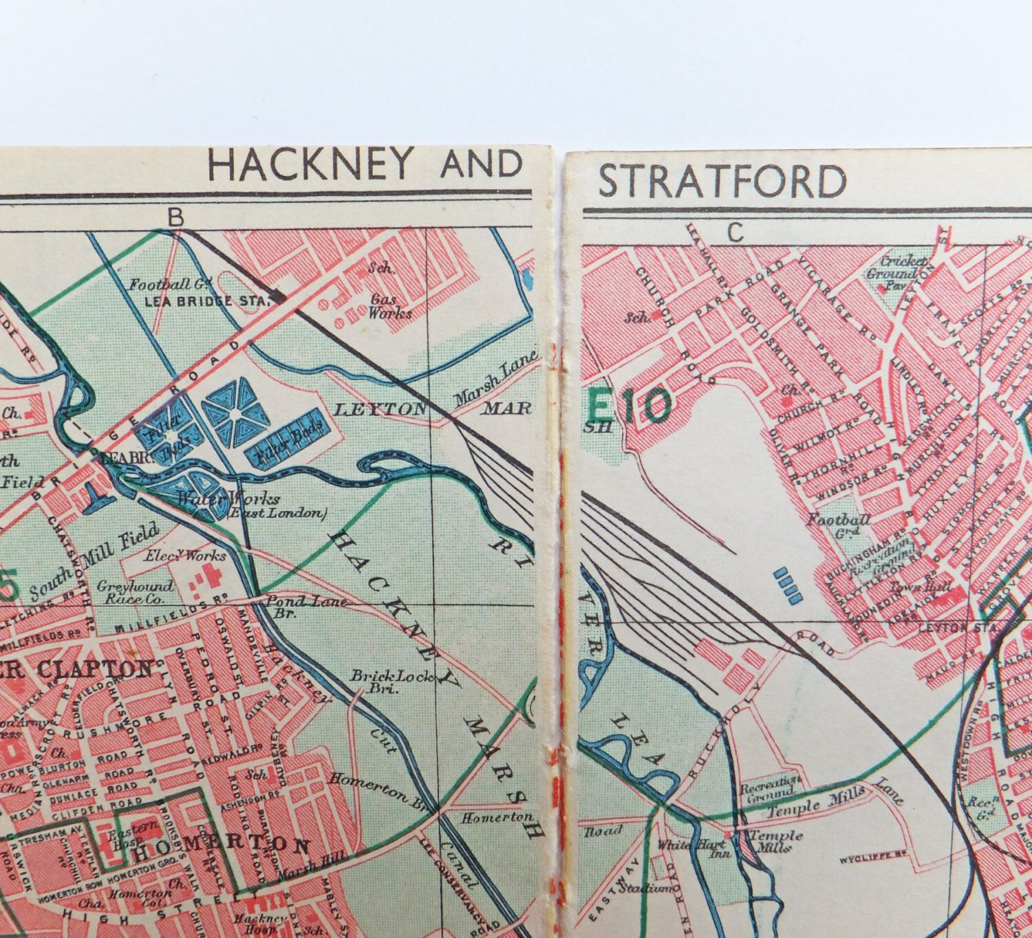 London Map Map of Hackney and Stratford London 1947 Map
