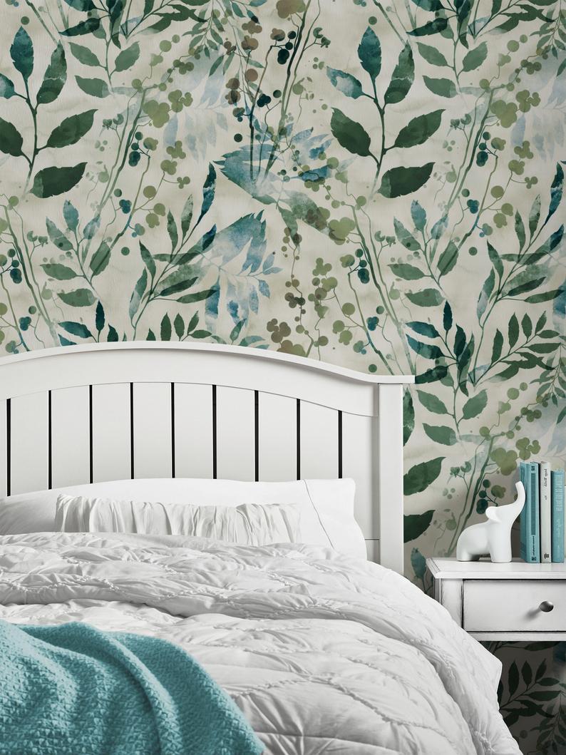 Watercolor Leaves Repositionable Wallpaper Peel And Stick Etsy Watercolor Wallpaper Watercolor Leaves Teal Wallpaper