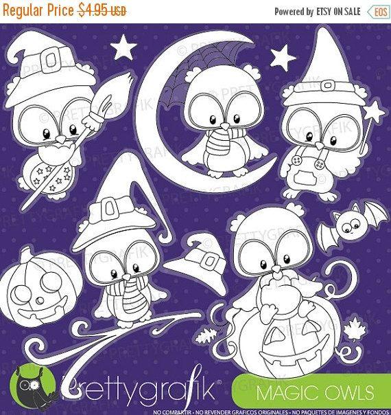 80 OFF SALE Halloween Owls Digital Stamp By Prettygrafikdesign