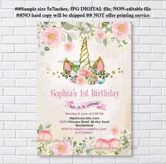 Unicorn invite birthday invitation girl birthday magical unicorn unicorn invites birthday invitation gold unicorn girl birthday party for any age 1st 2nd stopboris Gallery