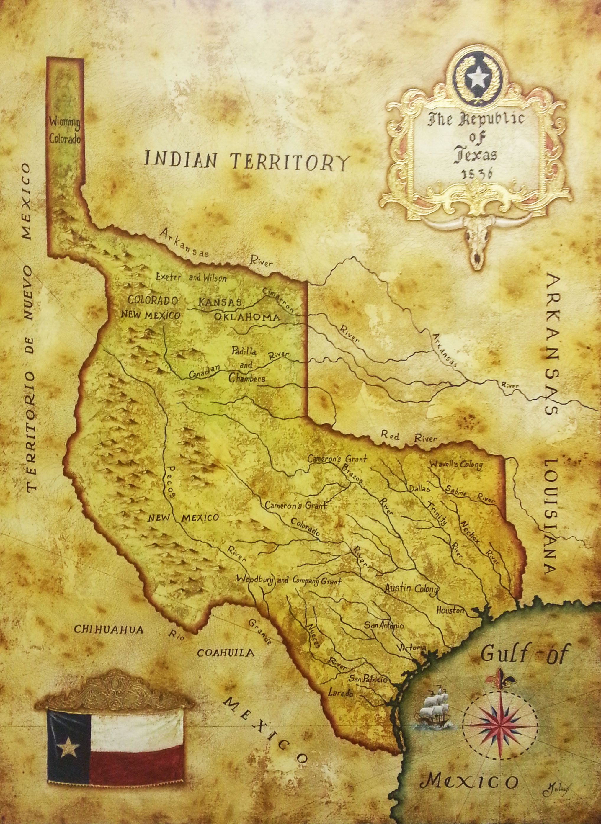 Map Of Republic Of Texas 1836 By Julius Lira Salazar Republic Of