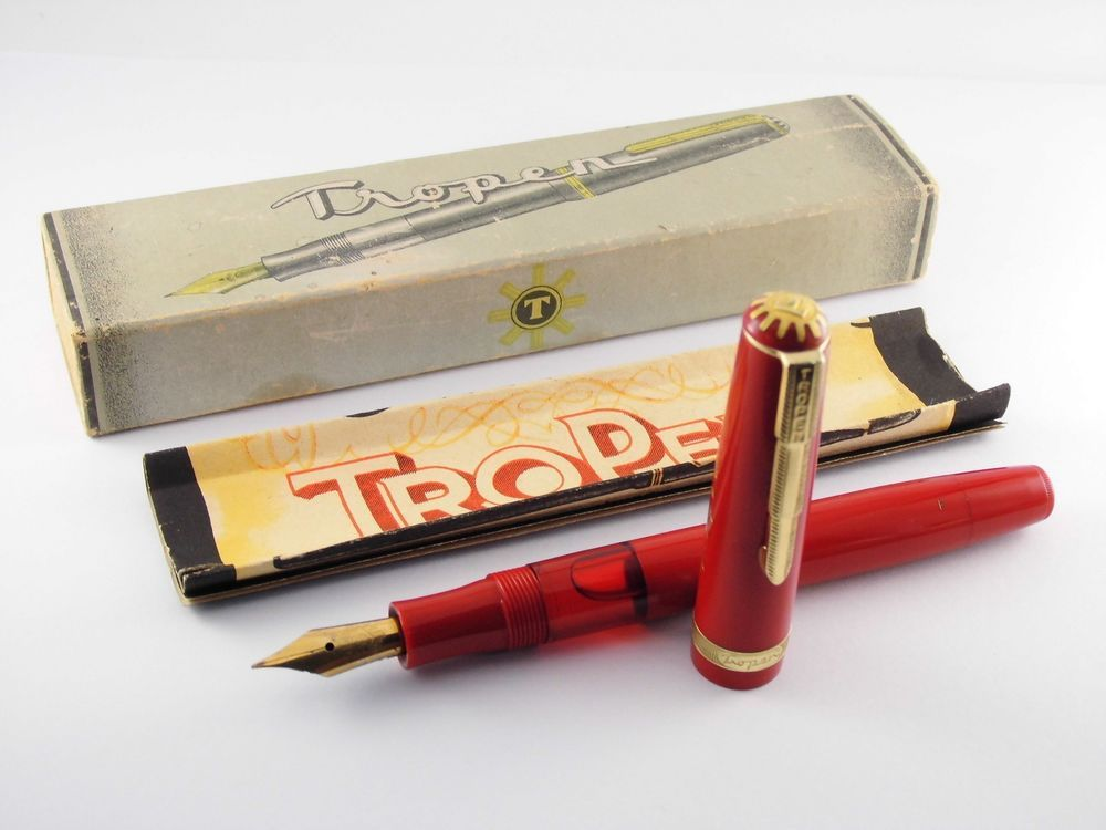 Vintage Tropen Fountain Pen Red Piston Filler Decorated Cap Band Germany 1950s Tropen Tropen
