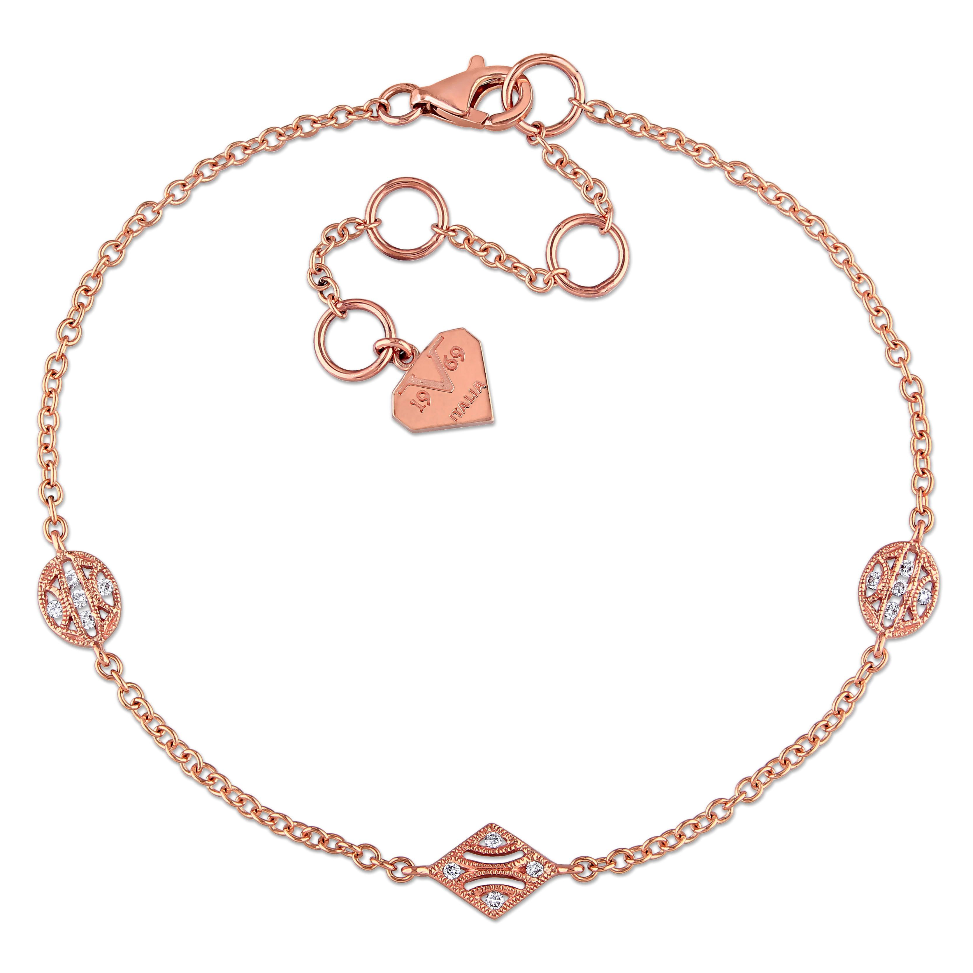 Miadora 14k Rose Gold Diamond Accent Charm Station Bracelet Women's