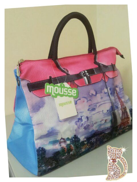 692395fe76da Mousse printed bag - Paris tower in psychedelic art style. Size   L39 x H27  x W18cm Price   US 79 Material  Polyester