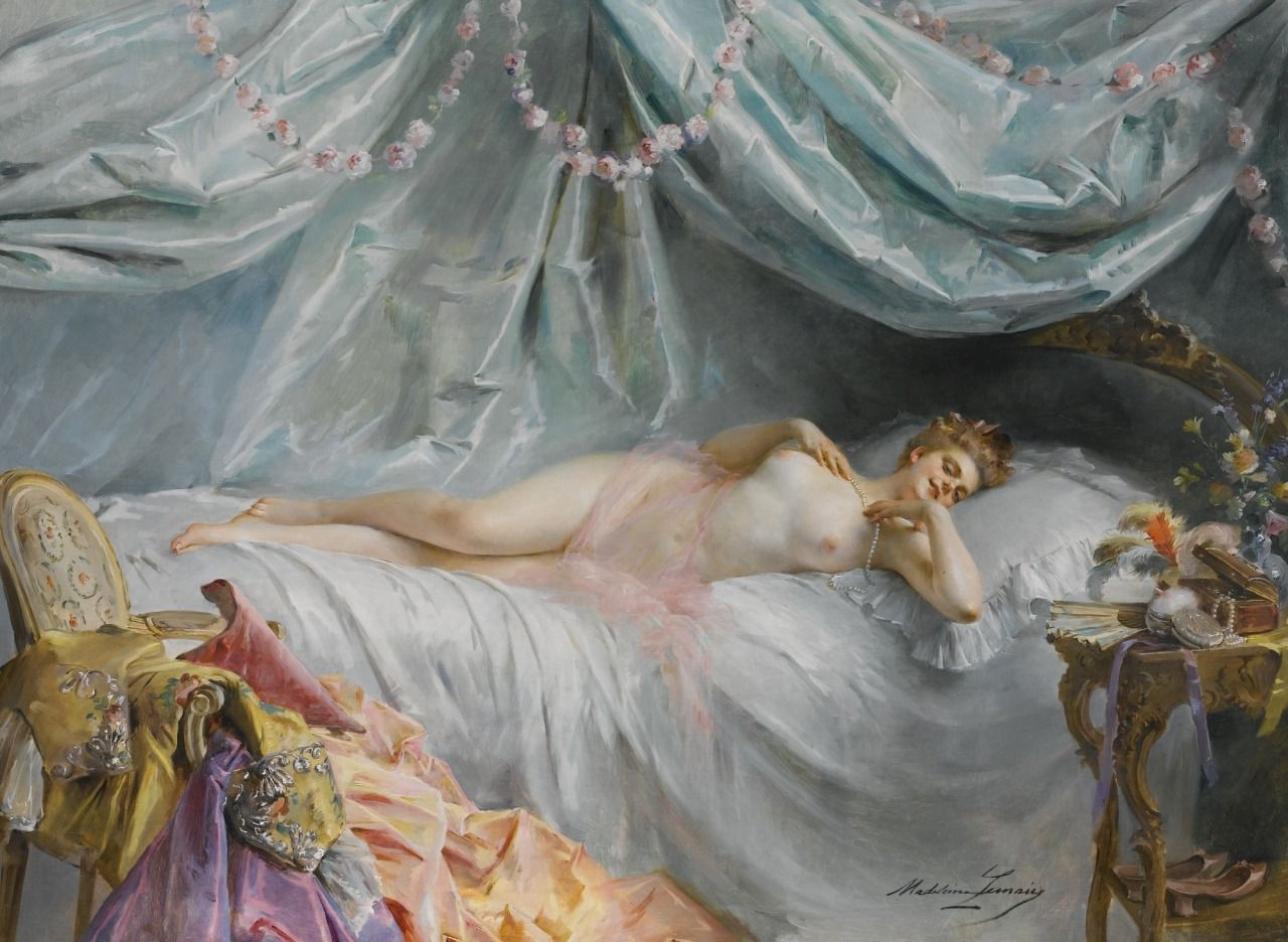 Madeleine Jeanne Lemaire (1845 - 1928) - In the boudoir