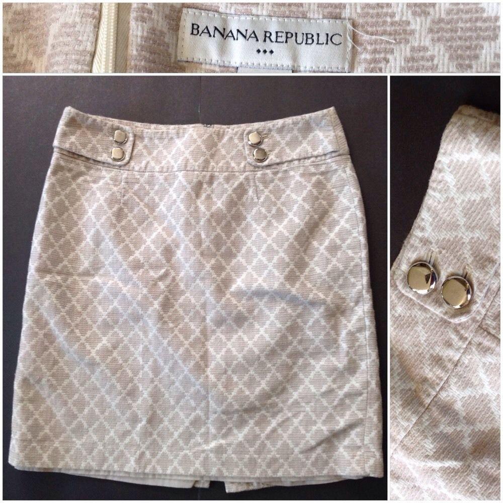 Banana Republic 8 Ikat Pattern Cream Tan Lined Pencil Classy Career Skirt #BananaRepublic #StraightPencil