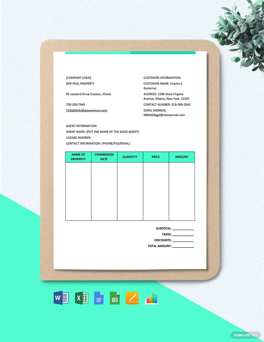 Real Estate Brokerage Commission Invoice Template Free Pdf Google Docs Google Sheets Excel Word Template Net Invoice Template Document Templates Templates
