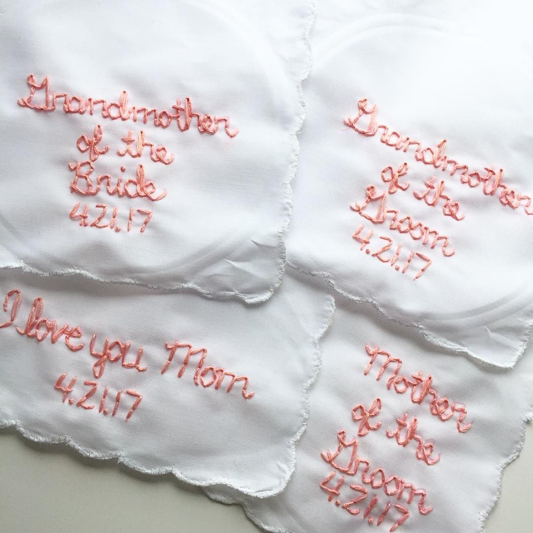 Hand Embroidered Handkerchiefs for Your Wedding | Custom Embroidery |  Wedding Keepsake | Wedding Trend 2017