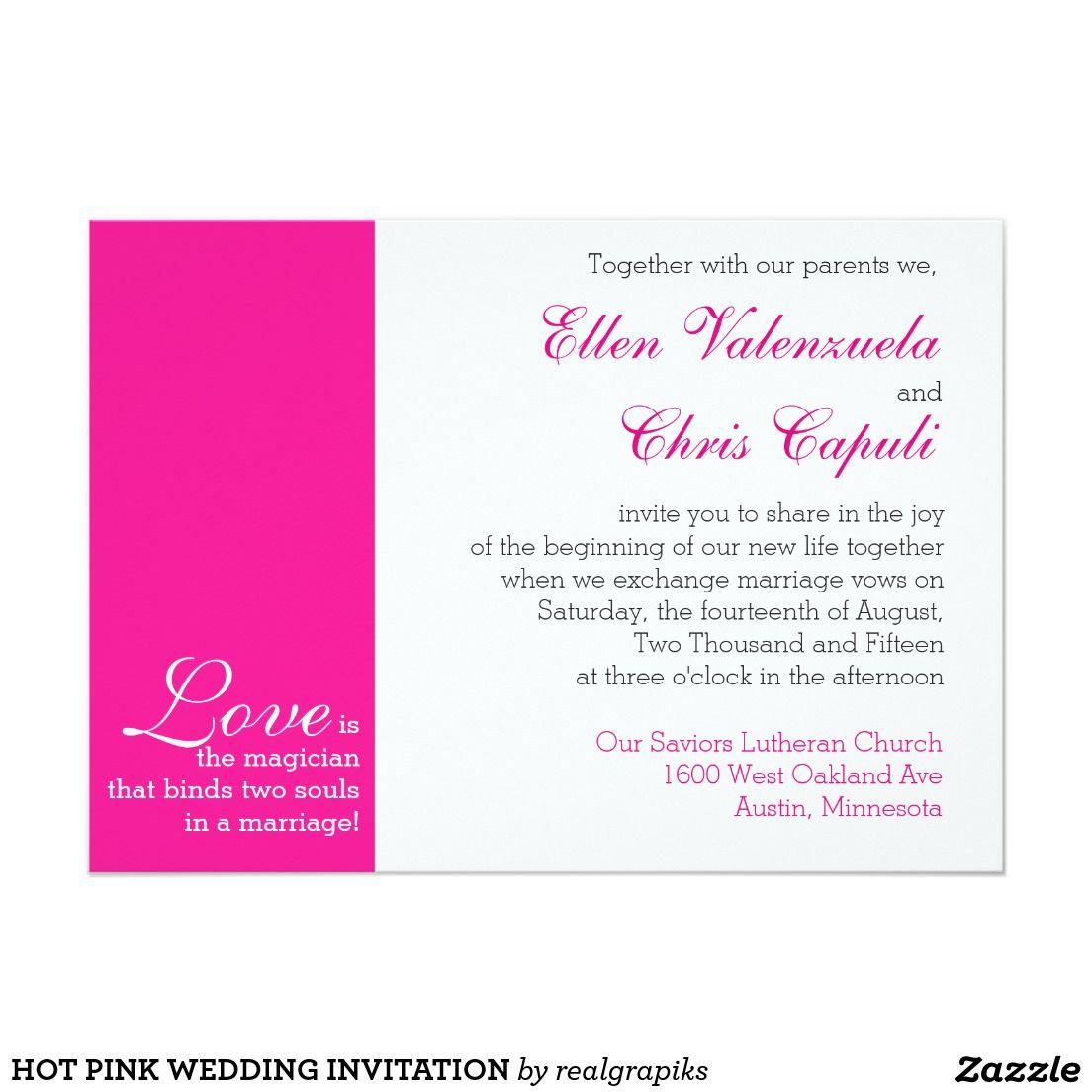 "hot pink wedding invitation 5"" x 7"" invitation card  hot"