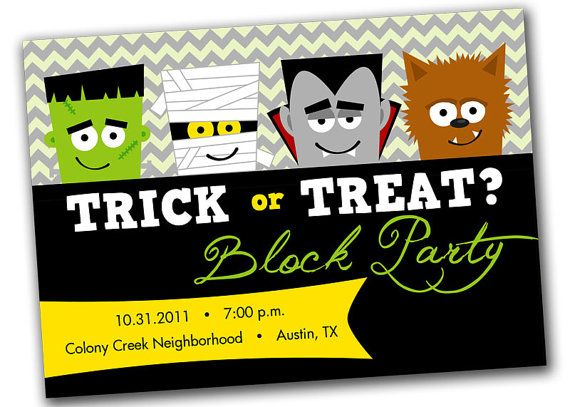 Printable Monsters Halloween Party Invitation Trick or Treat by - neighborhood halloween party ideas