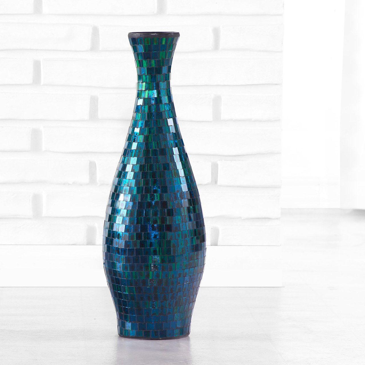 Turquoise Mosaic Vase Small Polivaz