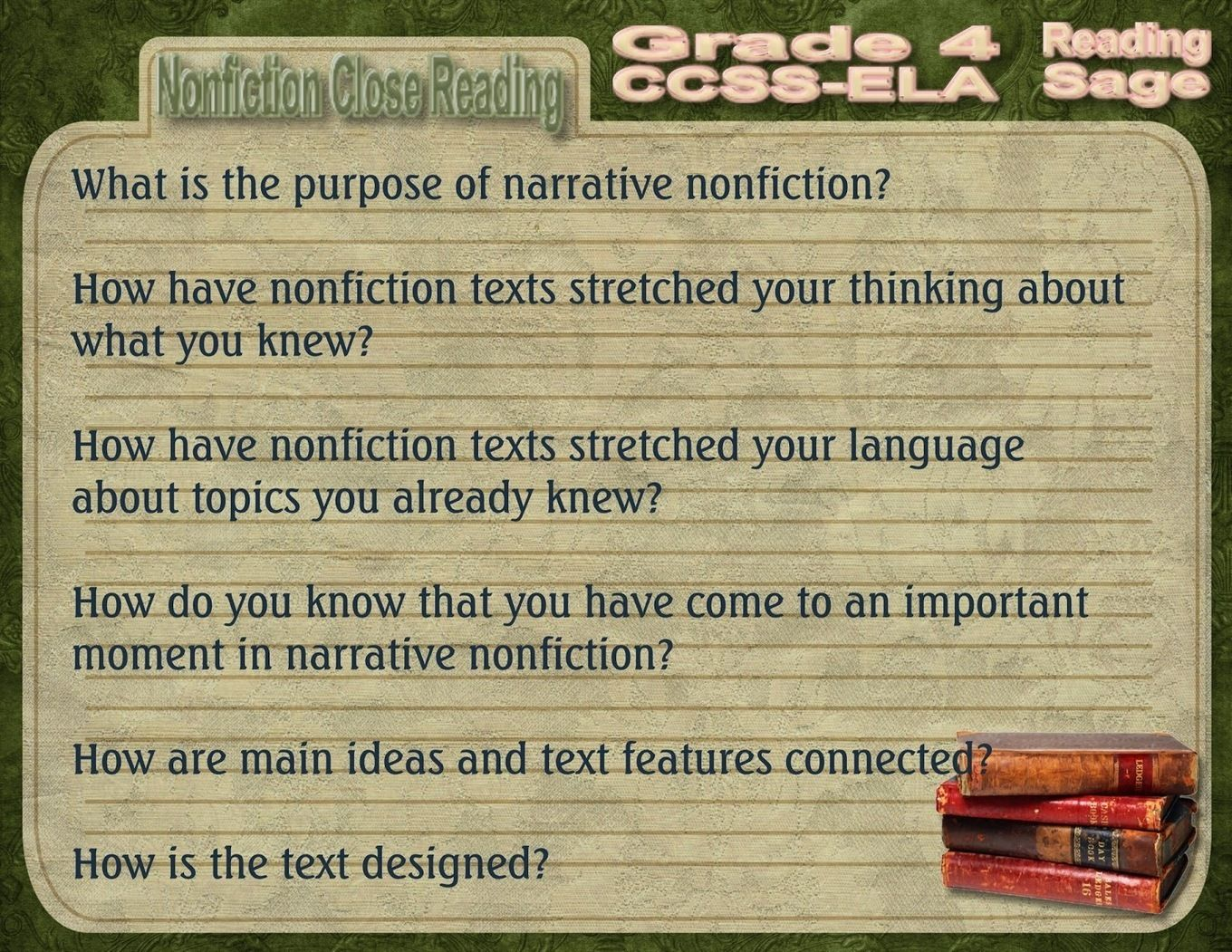 Reading Sage Grade 4 Nonfiction Close Reading Question