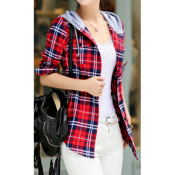 6c76bfe0ff4e4 New Women Girl Fashion Korean Fall Long Sleeve Top Plaid Check T Shirt Coat  Hood