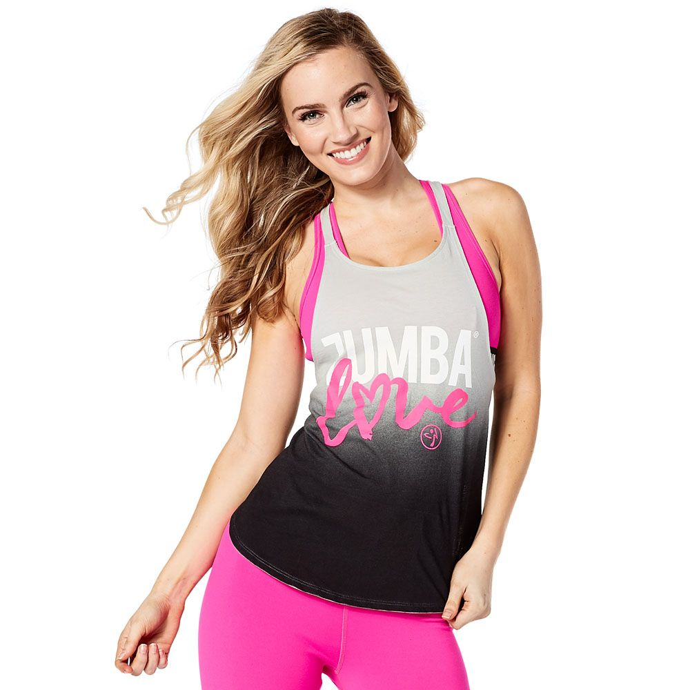 fad831e4a95d7 ZUMBA LOVE OPEN BACK TANK - BACK TO BLACK ------------ Say it loud and  proud with the Zumba Love Open Back Tank. With adjustable straps on the back  and a ...