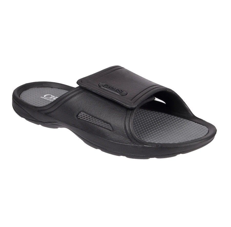 7d66e8bd8075e3 Chaps Mens Perforated Slide On Sandals Black size M L XL NEW https   www