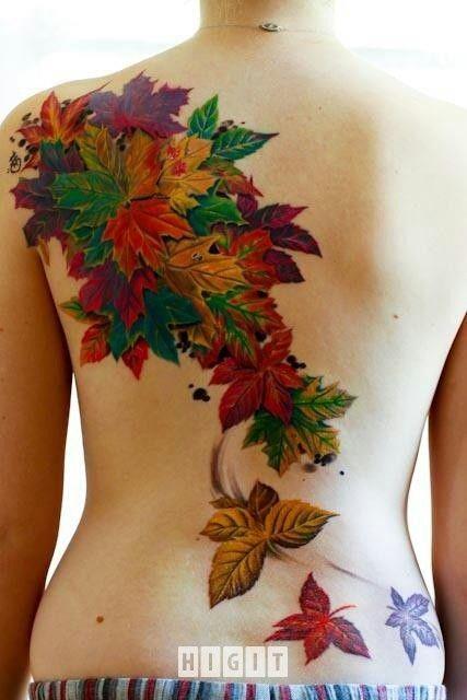Tatuaże Drzewo Kobieta Kolorowy Kwiaty Tatoo Autumn