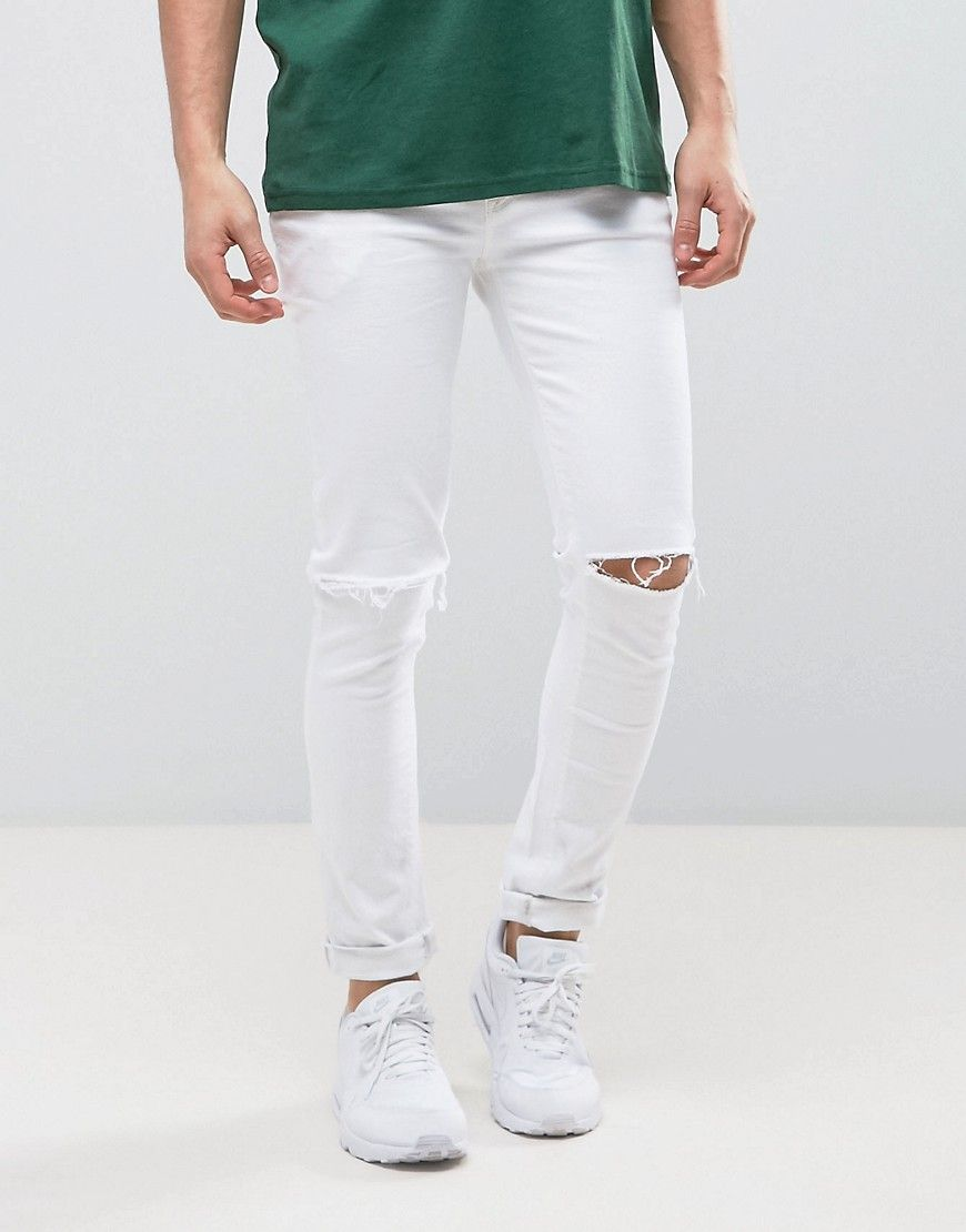 0a036be1fe95 ASOS Super Skinny In White With Knee Rips - White