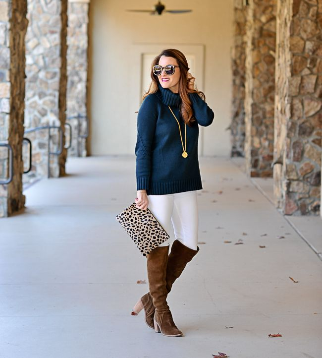 Cute and casual winter outfit idea.  Loft cowl neck sweater, over the knee boots and white denim via Peaches In A Pod blog.