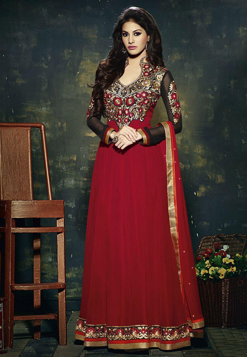 Red faux georgette abaya style churidar kameez kah ethnic
