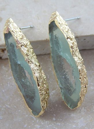 mint and gold stone earrings