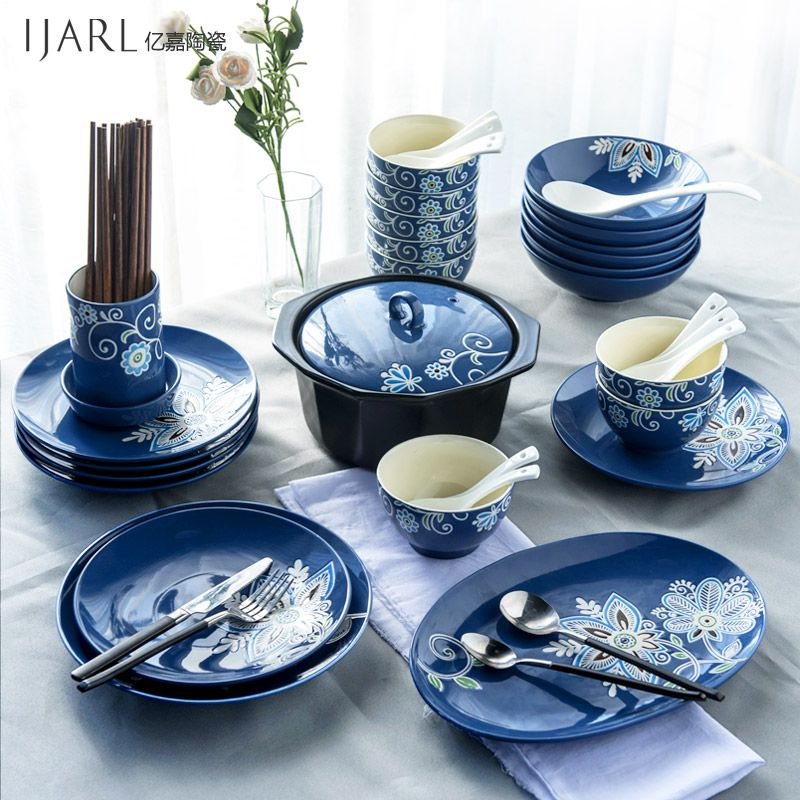 Continental Underglaze Color Tableware Set Dishes Chinese And Marriage Ceremony Night In Dinnerware Sets From Home Ga Tableware Tableware Set Dinnerware Sets