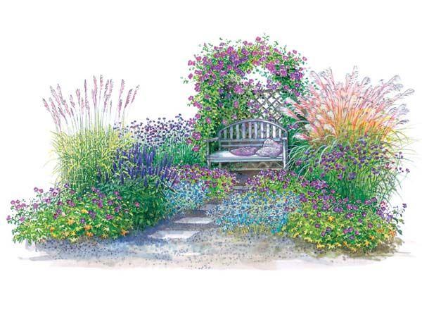 Sitzplatz In Blau Oder Rot Garten Bauerngarten Kleiner Garten