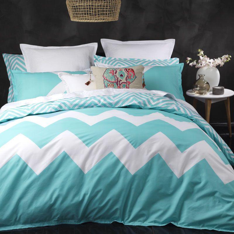 King Bed Size Doona Quilt Cover Set Marley Aqua Chevron Logan And Mason 3 Bed Quilt Cover Aqua Duvet Cover Bed Sizes