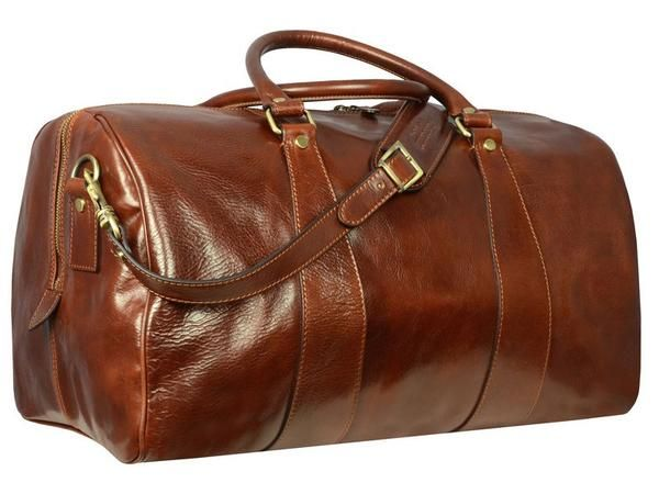 BROWN LEATHER DUFFEL BAG - WISE CHILDREN