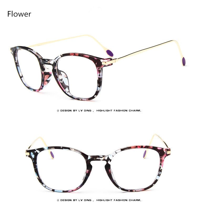 Brand Women Retro Eyeglasses Man Optical Fashion Round Plain Glass ...