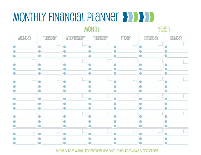 Monthly Financial PlannerPdf  Organization