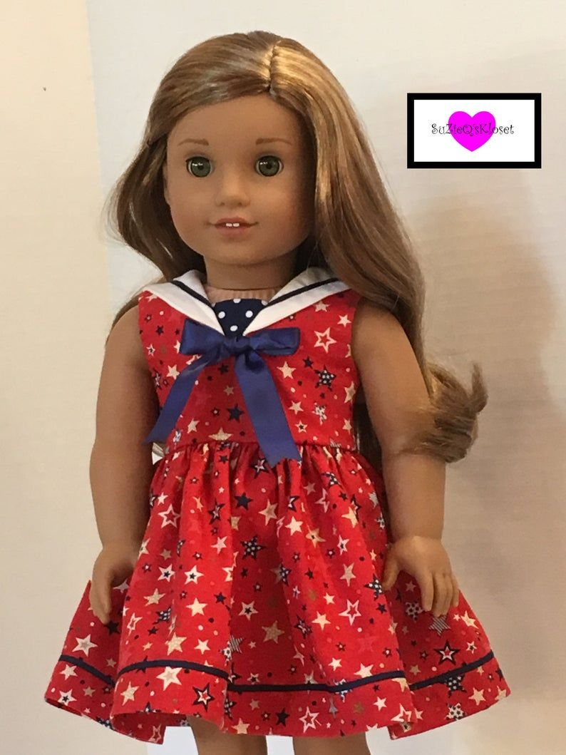 18 inch doll clothes, Sailor dress in 4 different prints