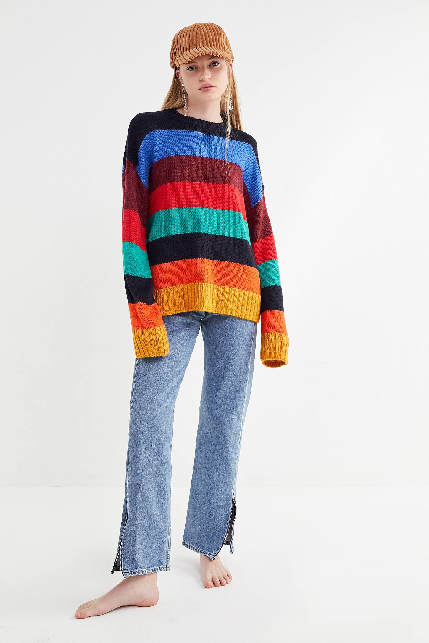 e8daa0ac4e UO Bobby Boyfriend Striped Crew-Neck Sweater