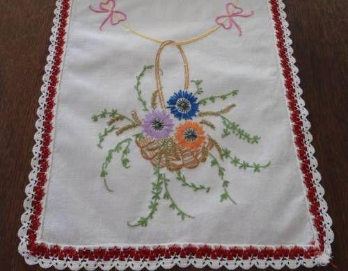 Vintage Table Runner Hand Embroidered Flower Basket Red Blue Crochet Lace