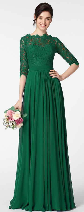 300a7de423 Emerald green modest mother of the bride dress with sleeves plus size mother  of the groom dresses