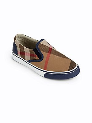 99585463b26 Burberry Kids Check Slip-On Sneakers   Kids stuff