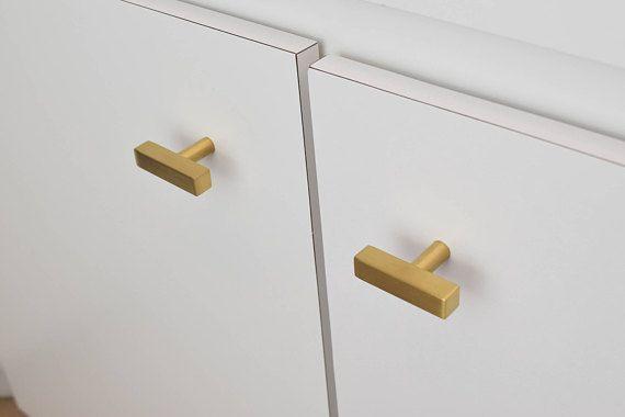 Modern, Square, Gold Drawer Knobs, T Knob Handles, Drawer Pull, Cabinet  Pull, Cabinet Knobs